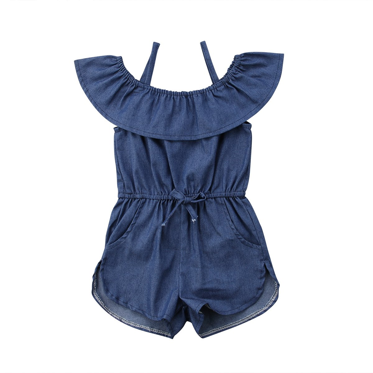 Toddler Little Girl Demin Off Shoulder Ruffle Pocket Romper Jumpsuit Clothes Set (Blue, 5-6T)