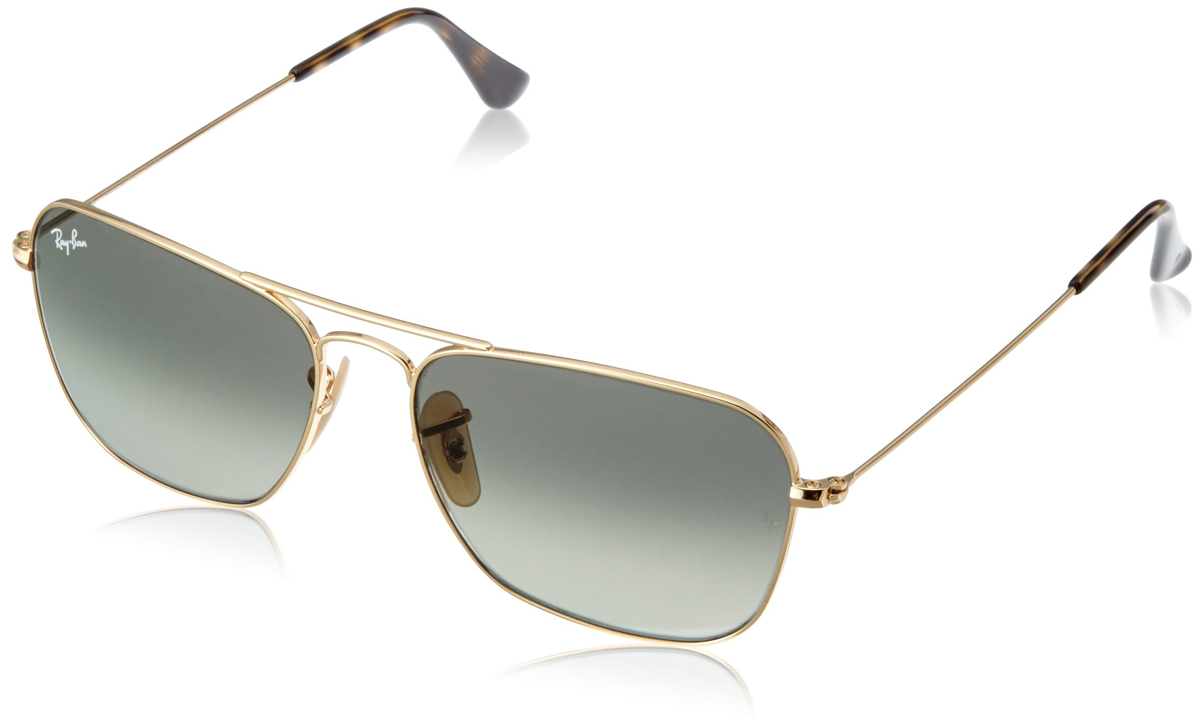 RAY-BAN RB3136 Caravan Square Sunglasses, Gold/Grey Gradient, 55 mm by RAY-BAN