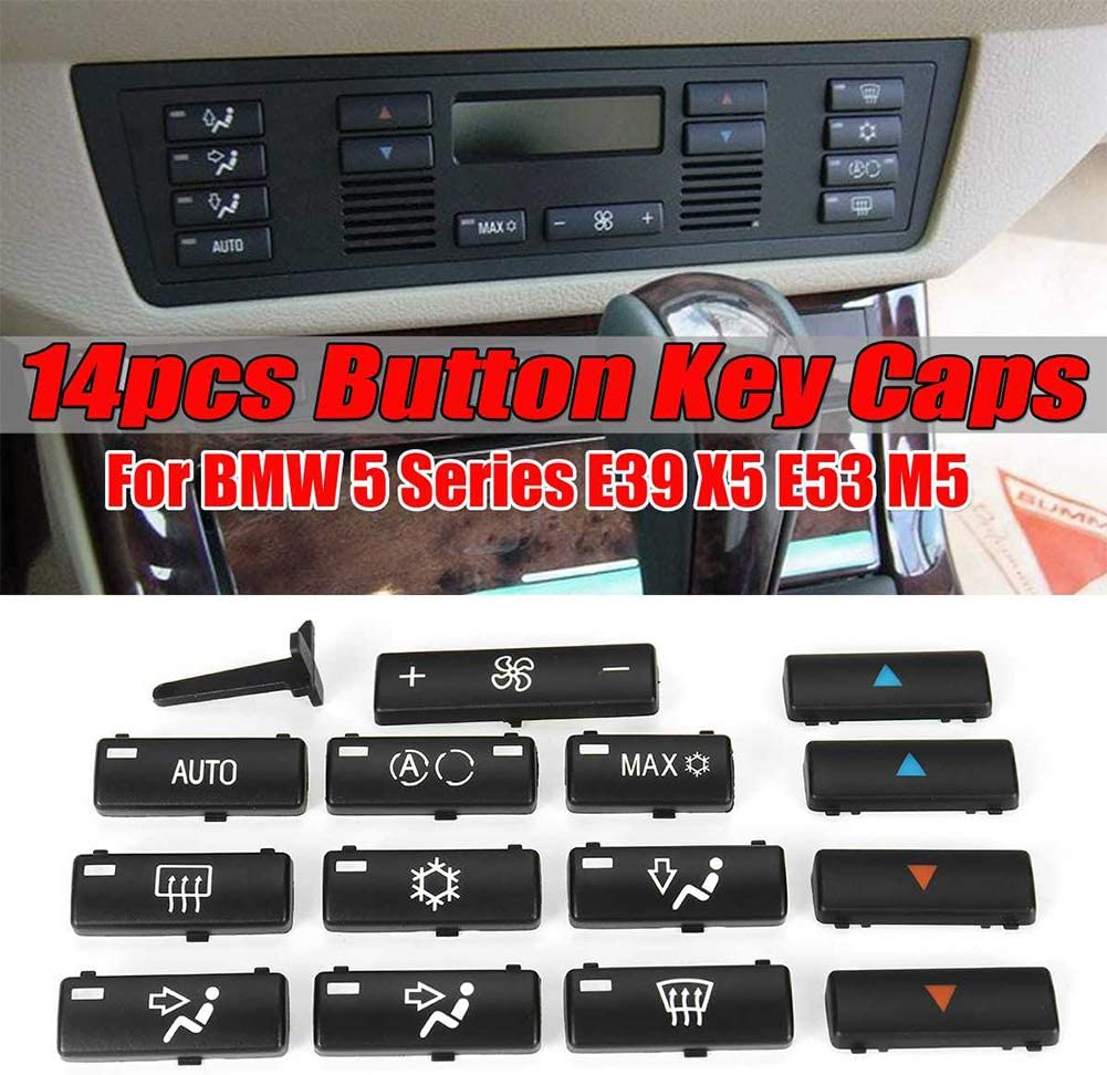 Air Conditioning Knobs Caps Replacement for B-M-W 5 Series E39 E53 525i 530i 540i M5 X5,14 Button OEMC 14 Button Key Climate A//C Control Panel Switch Buttons Frame Cover