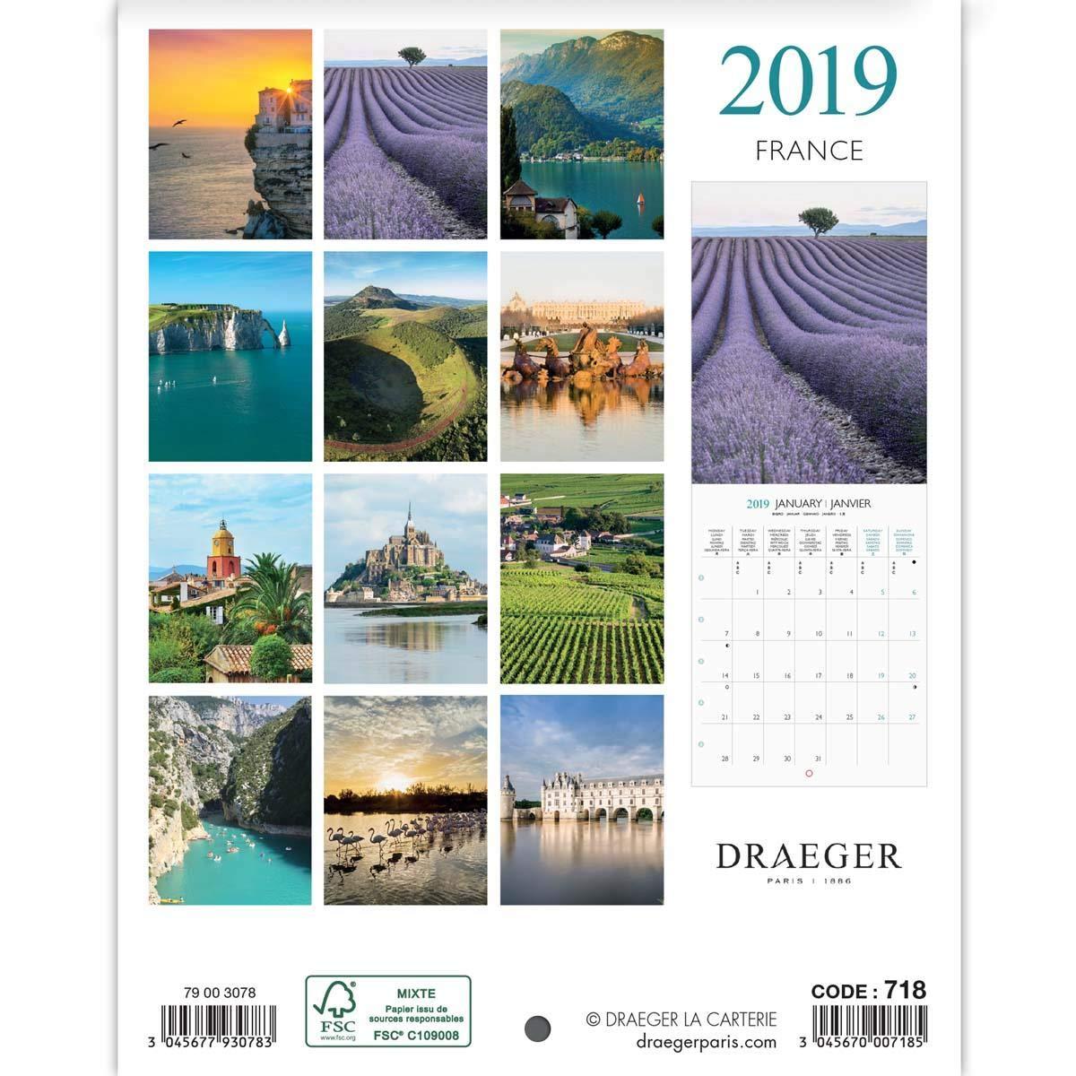 DRAEGER Kalender Frankreich 2019 18 18 18 x 14,5 cm 10 Stück B07HVM3846      Exquisite (in) Verarbeitung  e7ff97