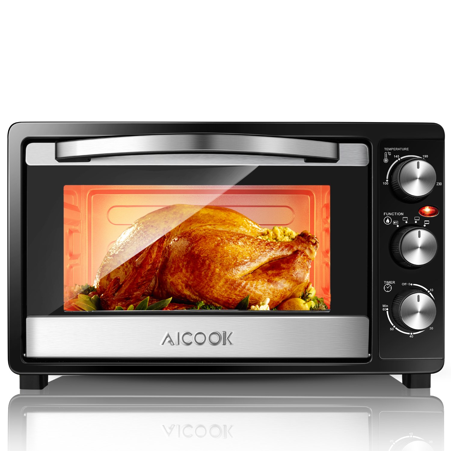 Aicook Mini Oven 23L Electric Grill with Temperature Setting 100-230℃ and 60 Mins Timer, 1500W Double Glazed Door Toaster Oven, 3 Baking Functions,Easy to Clean
