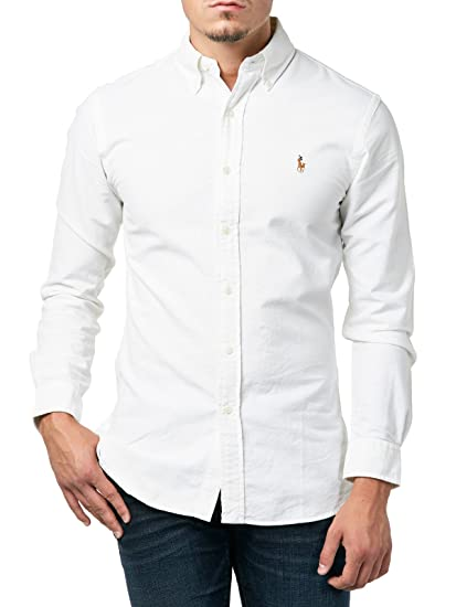 Polo Ralph Lauren Slim FT BD PPC White, Camisa Casual para Hombre ...