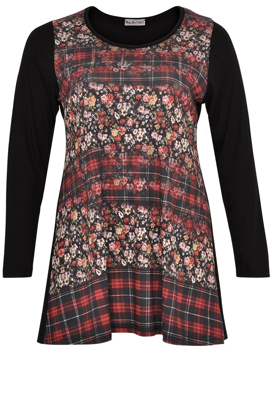 Yoek Damen Langarmshirt mit Druck Blumen Plus Size