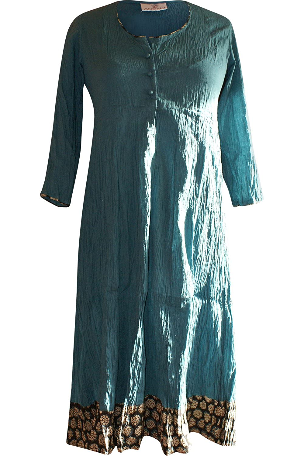 Anokhi Handmade and Hand Printed Crinkle Dress in Green Fairtrade Ethical
