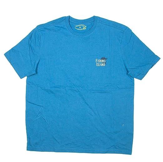 Caribbean Joe Mens Fishing Island Tropical Drink T Shirt Medium Blue