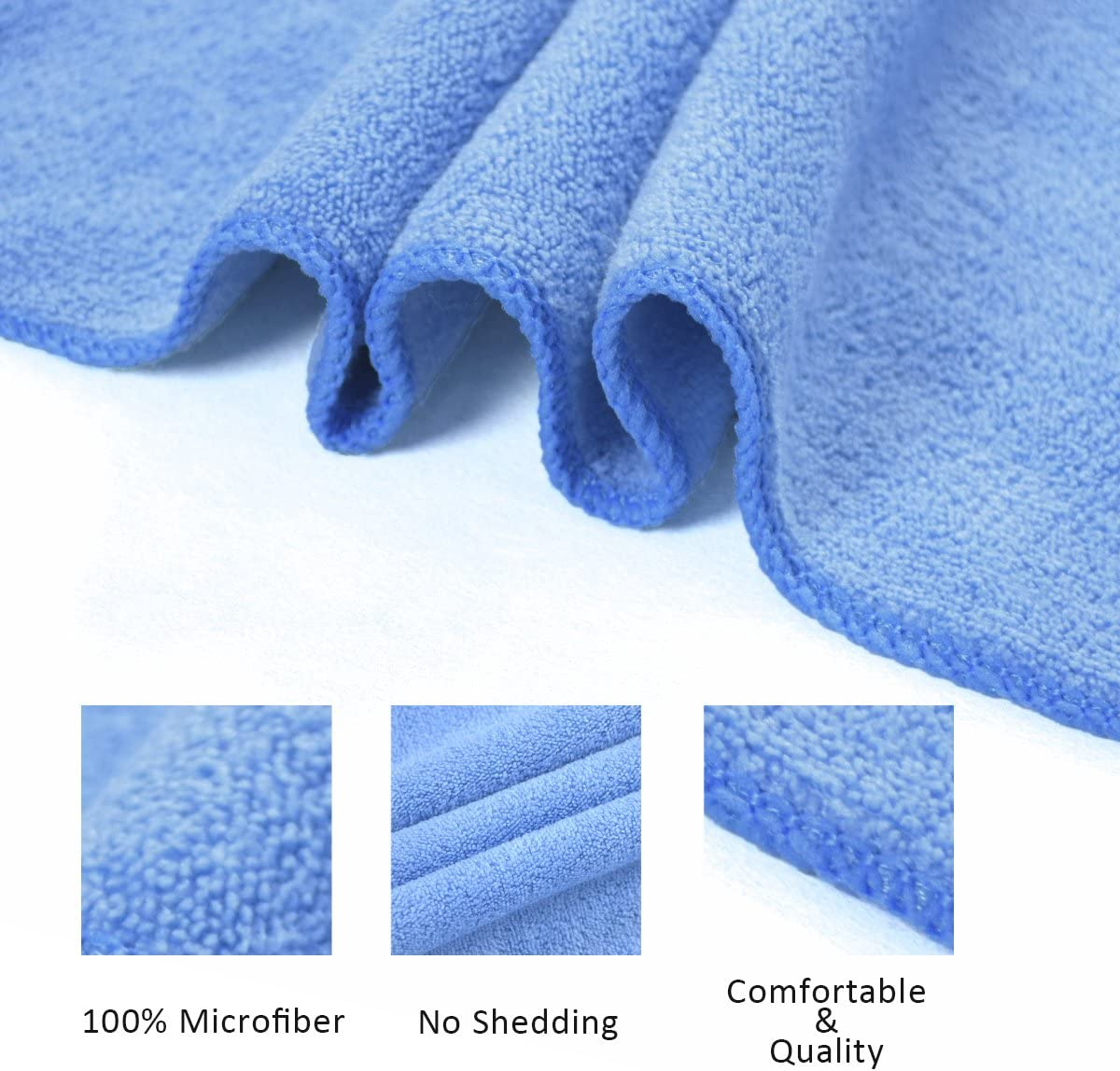 Travel Super Absorbent and Fast Drying Yoga Sky Blue Bath Towel 3 Pack 27 x 55 JML Microfiber Bath Towels Soft Multipurpose Use for Sports Fitness