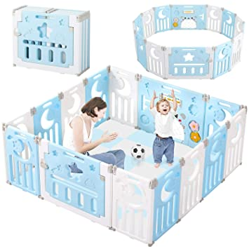 Baby Playpen Dripex Kids Safety Activity Center Indoor Outdoor Toddler Fence with Breathable Mesh Extra Large Play Yard for Boys Girls Babies Grey