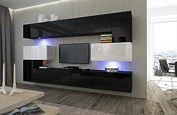 Home Direct Albania N3, Modernes Wohnzimmer, Wohnwände, Wohnschränke,  Schrankwand (Schwarz Und