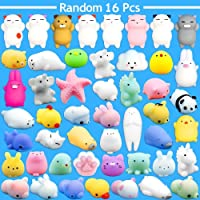 Mochi Squishy Toy by Time-killer - 16 Pcs Mini Cute Animal Squishies Kawaii Soft Seal Bear Cat Tiger Pig Panda Smile Cloud Squeeze Toy - Fidget Hand Toy for Kids Gift,Stress Relief,Decoration -16 Pack Random Color