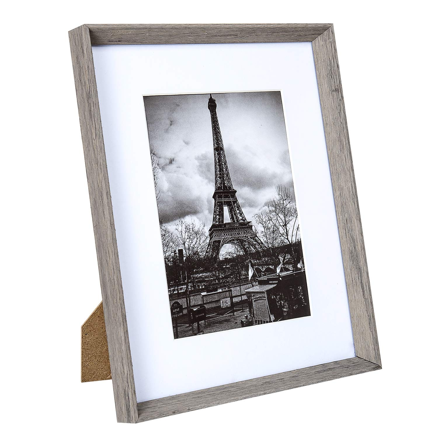 upsimples 8x10 Picture Frame with Real Glass and Mat,Rustic Photo Frames for Wall or Tabletop Display,Set of 5 by upsimples (Image #4)