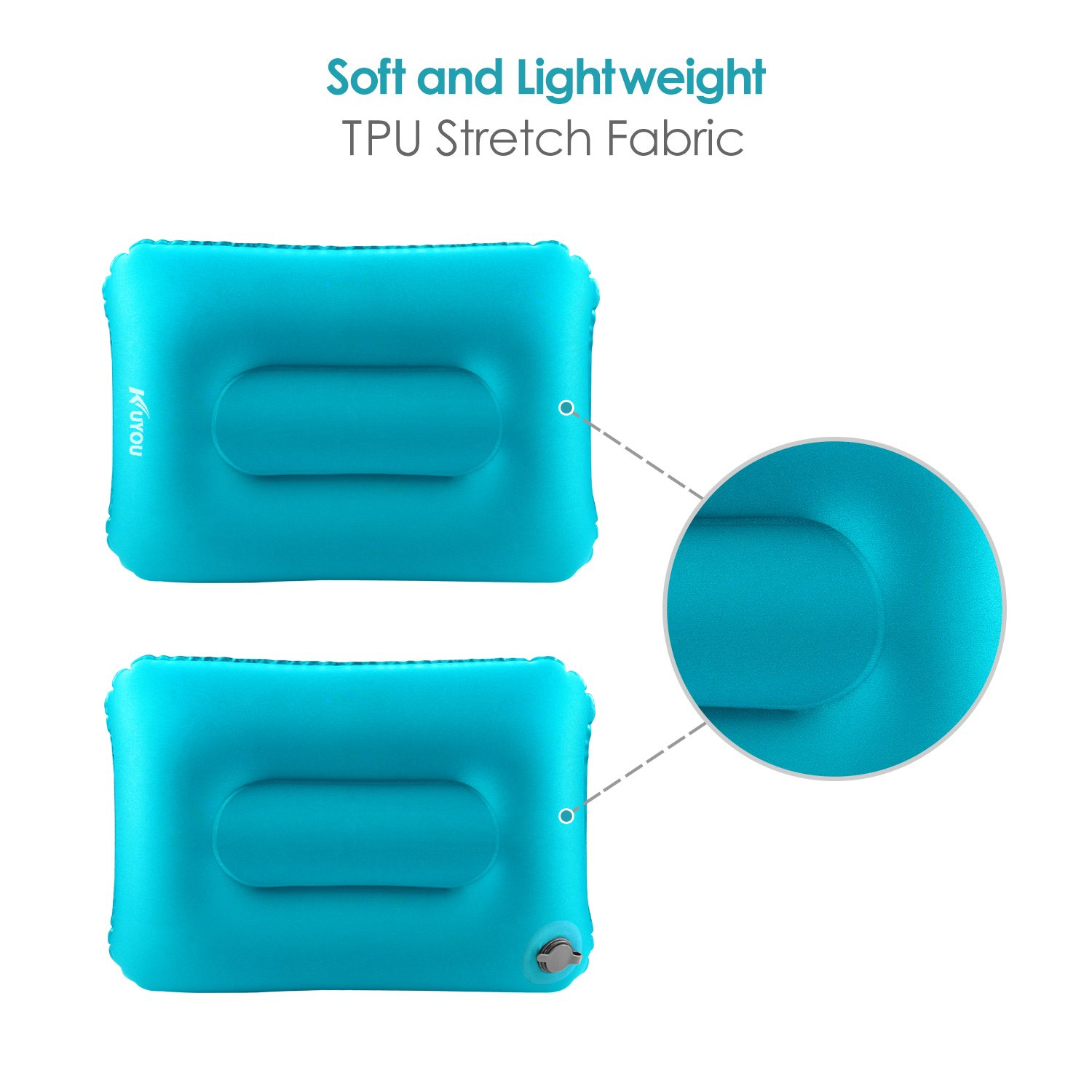 KUYOU Protable Inflatable Camping Pillow Backpacking Sleeping Pillow Compressible Ultralight Ergonomic Air Pillow for Neck and Lumbar