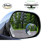 "2 Pack Blind Spot Mirrors Car Accessories By Lebogner - 2"" Round HD Glass Slim Frameless Convex Rear View Mirror, Wide Angle 360°Rotate 30°Sway Adjustable Stick On Mirror For All Cars, SUV, And Trucks"