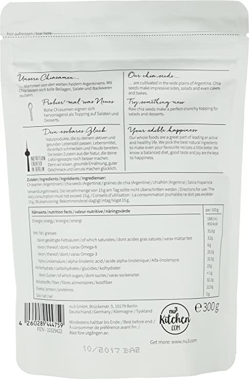 nu3 Semillas de Chia Premium - 300 g Con ácidos grasos omega-3 ...