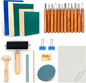 Rubber Stamp Making Kit,27 pcs Block Print Starter Tool Set with 12 Types Carving Blades,Rubber Block,Brayer Roller,Eraser, Whetstone,Tracing Paper, for Stamping and Printmaking