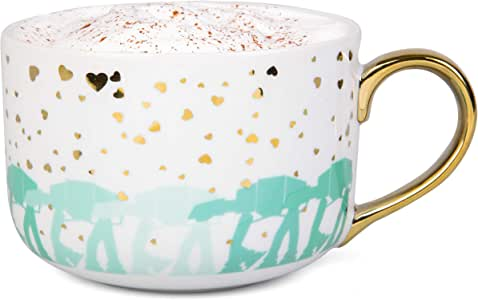 Star Wars AT-AT Ceramic Coffee Latte Mug - Cute Pinache Gold Hearts and Imperial Walker Design