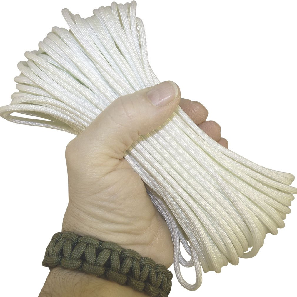 Paracord Frozen Solid White 50 ft. Hank, 7 Internal Strands, 550 Lb. Break Strength.  Military Survival Parachute Cord for Bracelets & Projects.  Guaranteed Made In US.  Includes 2 eBooks.