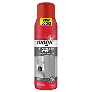 Magic Stainless Steel Cleaner Aerosol -17 Ounce - Removes Fingerprints Residue Water Marks and Grease From Appliances - Refrigerator Dishwasher Oven Grill etc