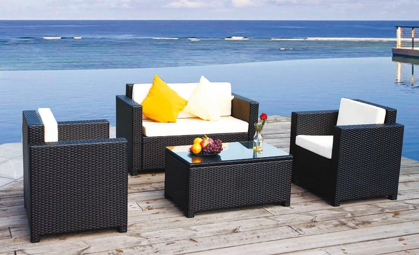 Jet-line Gartenmoebel Cannes Rattan Lounge M/öbel schwarz Sessel Sofa Terasse Balkon Polyrattan Gartenausstattung