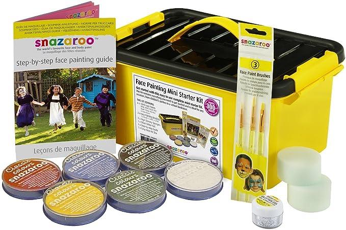 Snazaroo - Pintura facial y corporal, mini kit para principiantes, 14 piezas