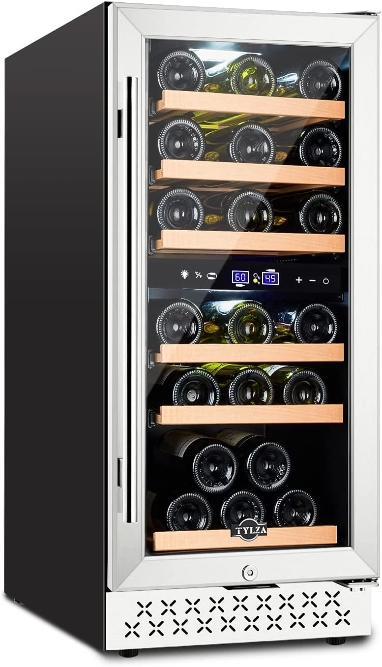 【Upgrade】15 Inch Dual Zone Wine Cooler, Wine Refrigerator Built-in 30 Bottle, Wine Fridge Under Counter Freestanding Fast Cooling Wine Chiller, Quiet Operation, with Temperature Memory Control and Glass Door