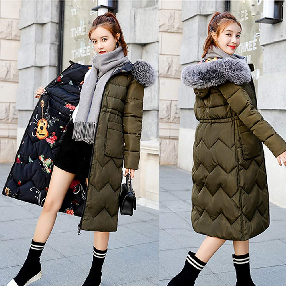 iHPH7 Women Winter Coat Down Jacket Ladies Fur Hooded Jackets Long Puffer Parka at Amazon Womens Clothing store: