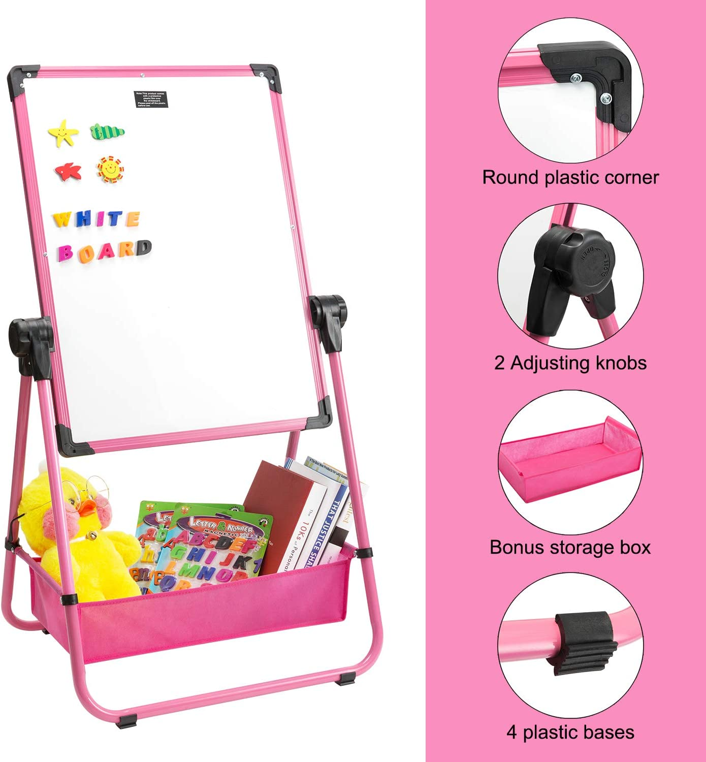 Height Adjustable /& 360/°Rotating with Bonus Storage Box Marble Field 24 x 18 Magnetic U-Stand Whiteboard//Kids Flip Chart Easel Pink Double Sides Whiteboard /& Chalkboard Standing White Board