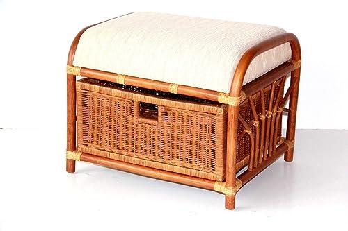 Handmade Ottoman Footstool Natural Rattan Wicker w/Basket w/Cushion