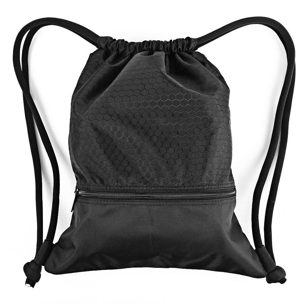 Esvan proof Gymbag Large Drawstring Backpack Gymsack Sackpack For Sport Traveling Basketball Yoga Running(Black)