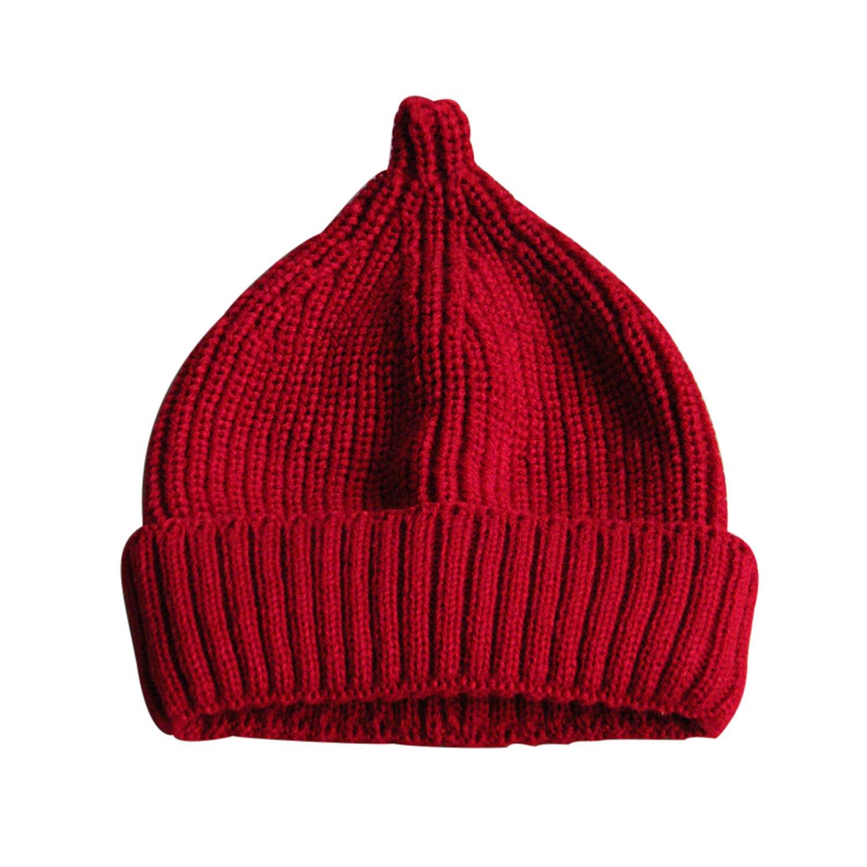 Pingenaneer Chaud Chapeaux Tricoté Mignon Bonnet Bébé Fille Garcon Automne Hiver Chapeau Confortable et Doux S(Taille réglable: 48-50cm) - Rouge