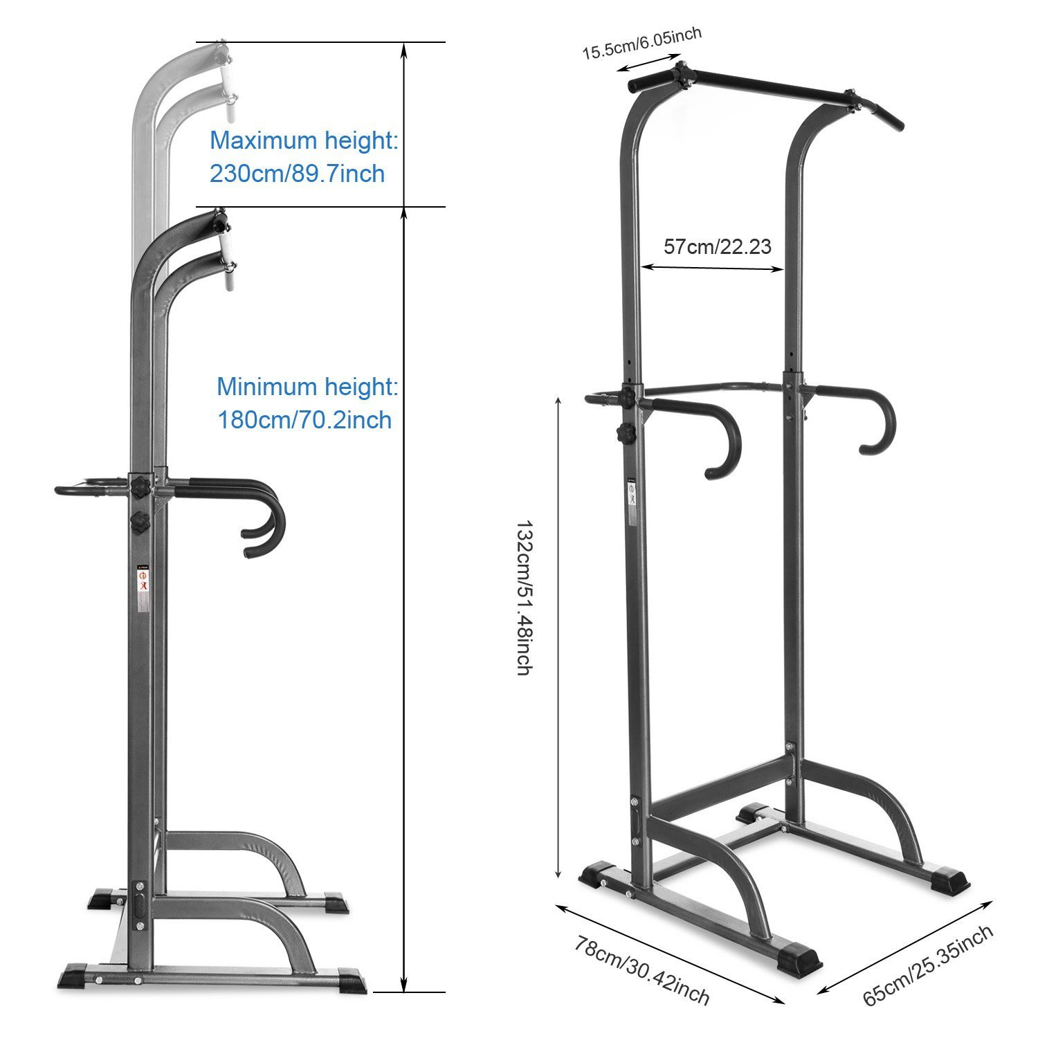 Leoneva Home Adjustable Power Tower,Chin Up Pull Up Bar Strength Power Tower, Strength Training Fitness Equipment, Multi Station Workout Dip Station for Home Gym by Leoneva (Image #5)