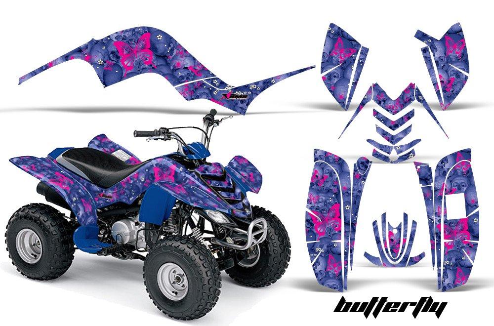 Yamaha Raptor 80 2002-2008 ATV All Terrain Vehicle AMR Racing Graphic Kit Decal SKULLS AND BUTTERFLIES PINK BLUE