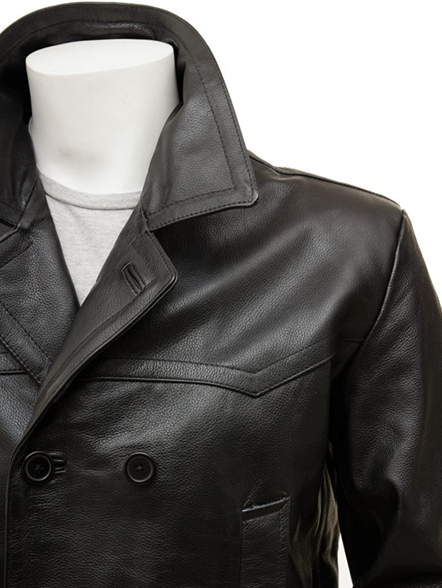 Koza Leathers Mens Leather Blazer Real Lambskin Three Button Double Breasted Coat Jacket KB105