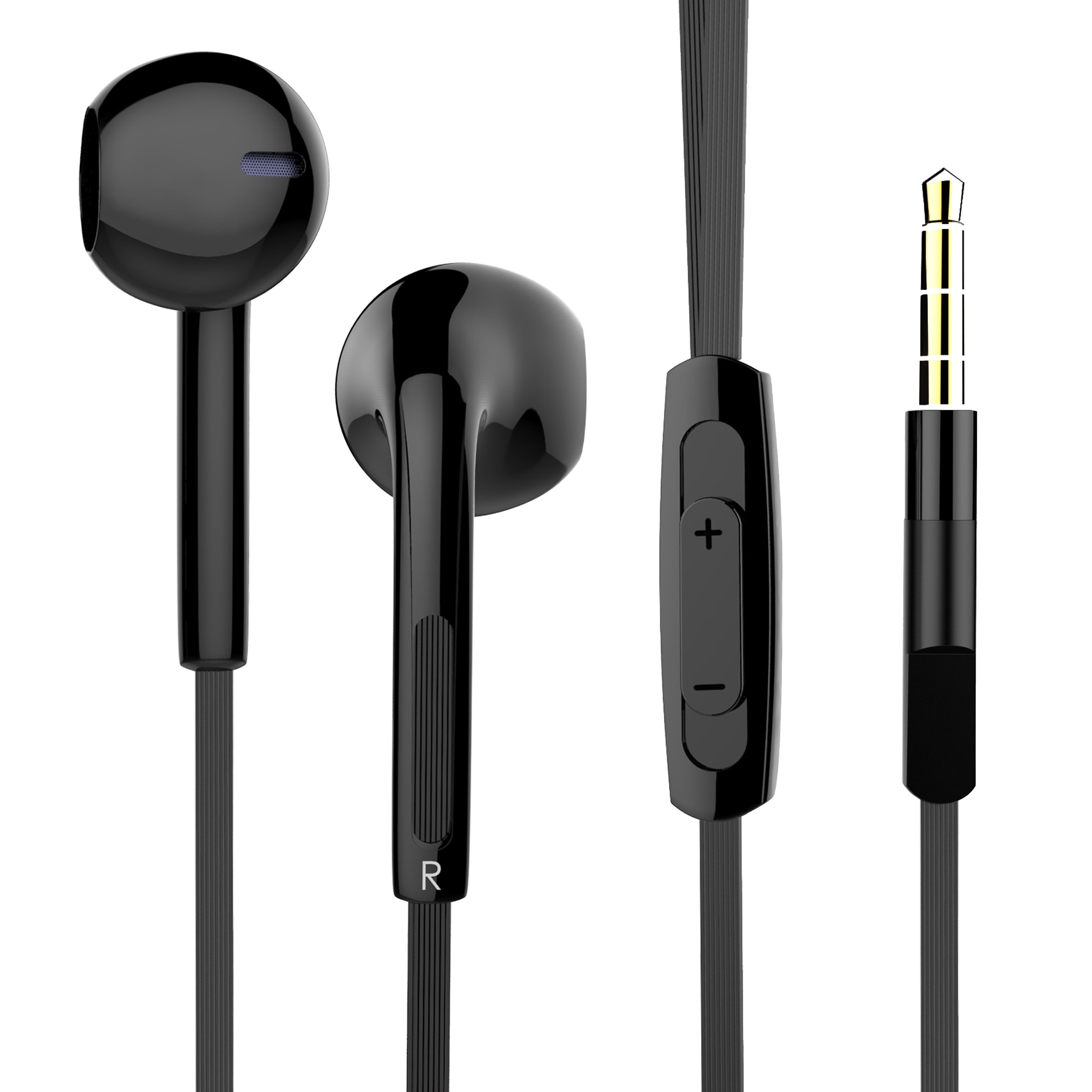in Ear Earbuds, Pwow Wired Earphones with Microphone Stereo Headphones for Running Workout Gym Black