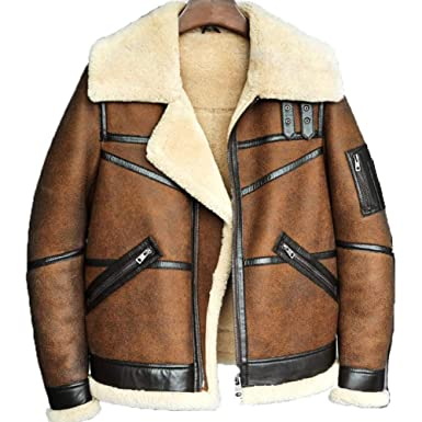 0417a10067 Men s B3 Shearling Sheepskin Bomber Jacket Pilots Coat Men s Fur Coat  Winter Flying Jacket at Amazon Men s Clothing store