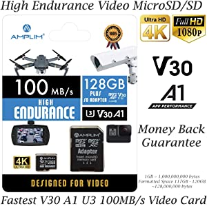 High Endurance 128GB MicroSDXC Card for Video Monitoring Cameras - Dash Cam, Body Cam, Surveillance Cam, Home Security Cam, Drone, Action Camera. Amplim U3, V30, A1, 4K UHD, Micro SD TF with Adapter