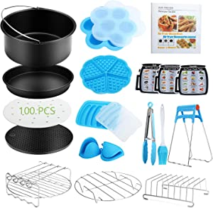 8 Inch Air Fryer Accessories,19 Pcs Air Fryer Accessories with Recipe Cookbook for Gowise USA Phillips Cozyna, Fits All 3.7QT-6.8QT Air Fryer with Cake Barrel, Pizza Pan