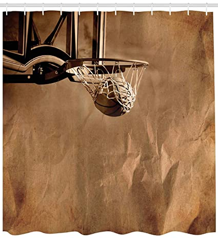 FAHONGYON Basketball Shower Curtain Ball In The Net On Crumpled Paper Style Backdrop Scoring Sports
