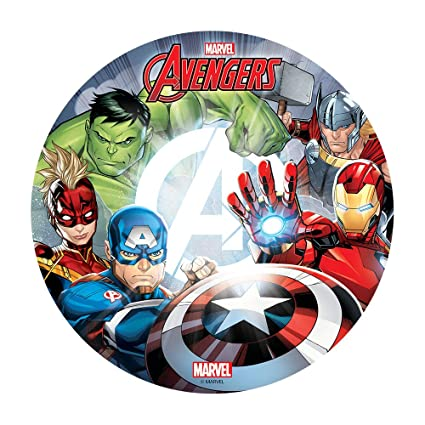 Magnificent Marvel Avengers Cake Topper Edible Image Round 8 Inch Amazon Com Funny Birthday Cards Online Elaedamsfinfo