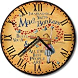 Vintage Alice in Wonderland Mad Hatter Bonkers Retro Round Hanging Kitchen Wall Clock Gift NRC05