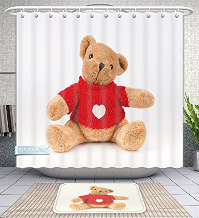 1311c325e Amazon.com  Unique Custom Bathroom 2-Piece Set Teddy Bear On White ...