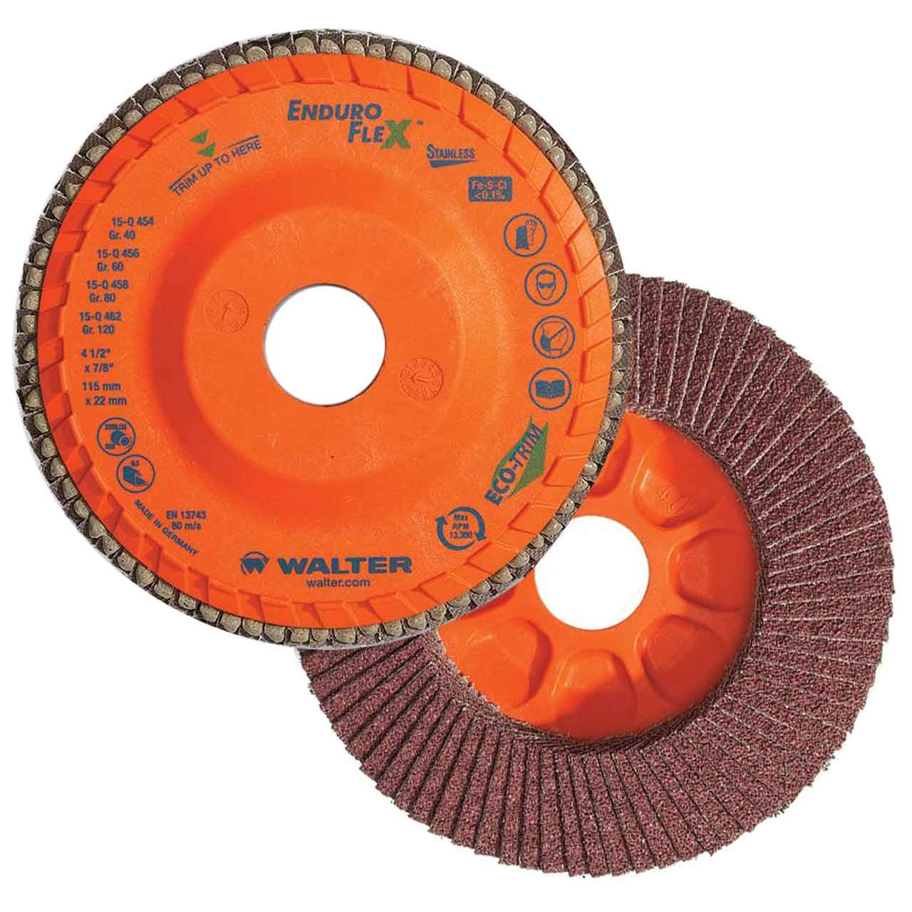 Walter 15Q454 ENDURO-FLEX Abrasive Flap Disc [Pack of 10] - 40 Grit, 4-1/2 in. Grinding Disc with ECO-TRIM Backing. Surface Finishing Discs