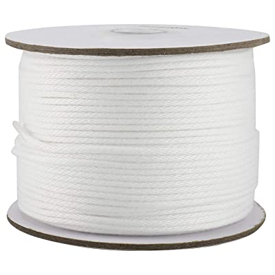 Yaegoo Twisted Polyester Rope Length 328FT Diameter 3mm 4mm 5mm 6mm 10mm Low Stretch High Strength Dacron Rope White (6mm)