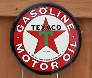 """Collectible Badges 12"""" Round Texaco Motor Oil Metal Sign"""