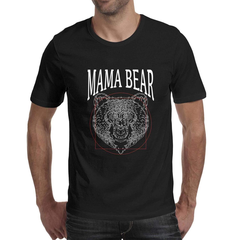 Geometric Tattoo Bears Head Moon Phases Teenagers Slim Short Sleeve Walking T Shirt for Men