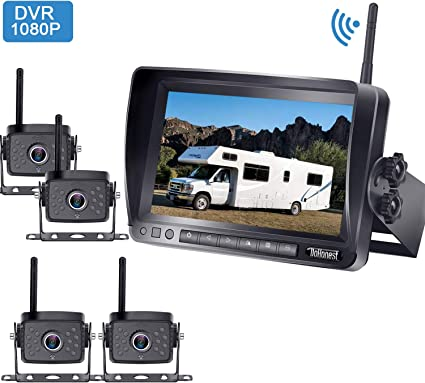 LeeKooLuu Wireless Backup Camera and 7 Monitor Kit For RV//5th Wheel//Truck//Motorhome//Trailers//Campers Built-in Wireless Rear View Camera Monitor System Guide Line Optional IP68 Waterproof Night Vision
