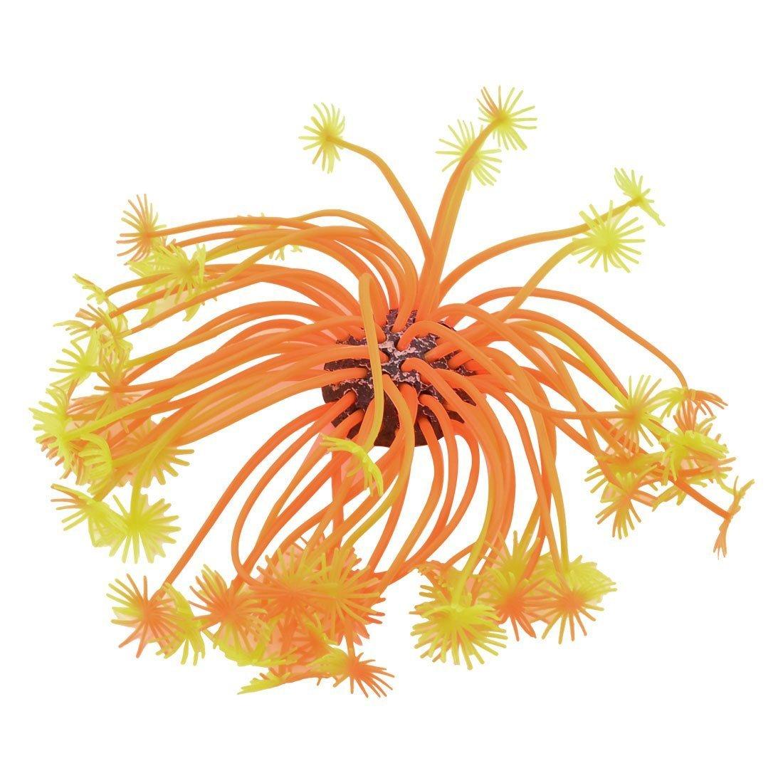 1Pc Aquarium Ceramic Base orange Yellow Silicone Aquatic Coral Plant Decor 3.1  Height