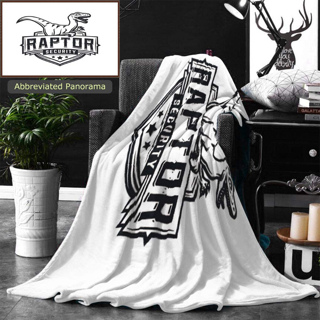 Unique Custom Double Sides Print Flannel Blankets Raptor Sport Logo Mascot Design Vintage College Team Coat Of Arms Military Dino Logoty Super Soft Blanketry for Bed Couch, Twin Size 80 x 60 Inches