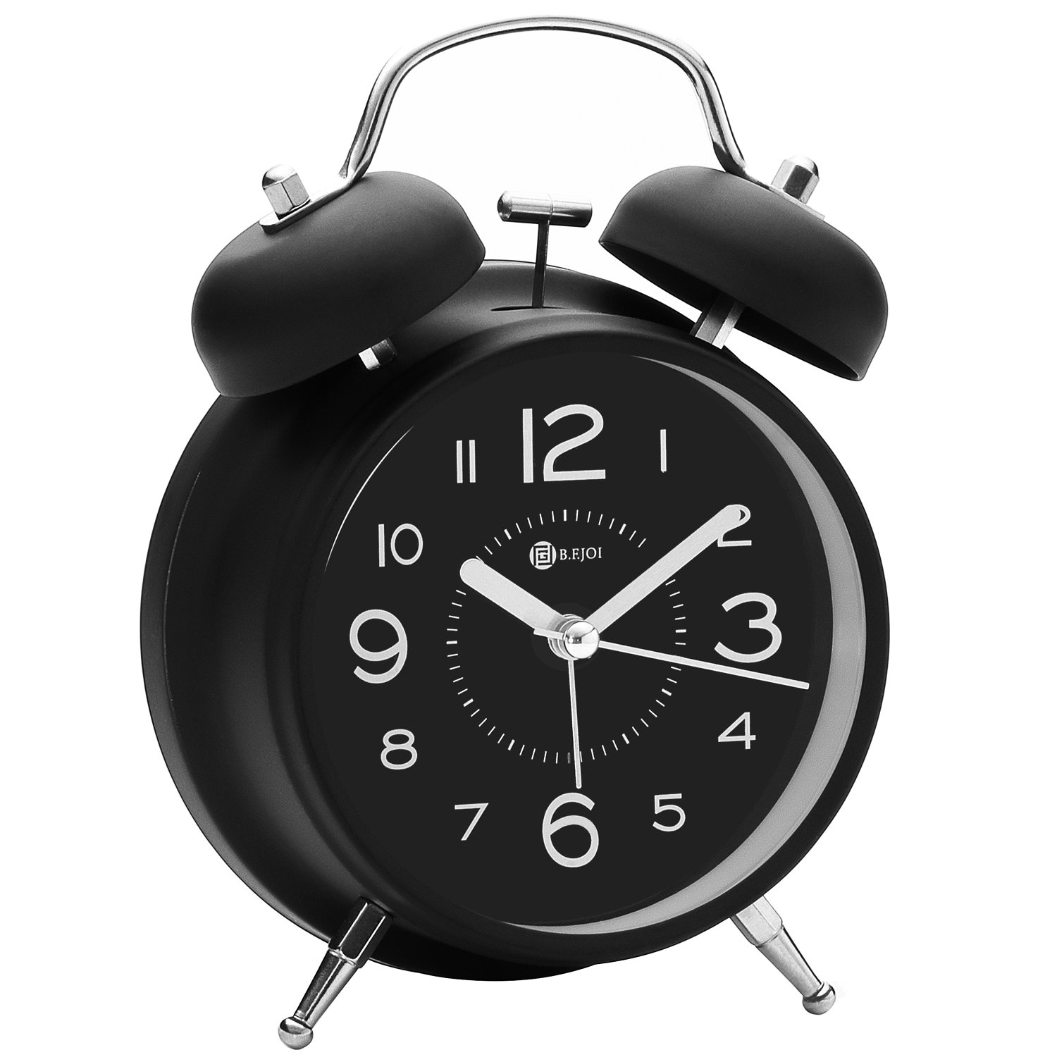 4'' Twin Bell Alarm Clock with Metal Dial, Nightlight, No Ticking Battery Operated Loud Alarm Clock for Bedroom (Black) by B.F.JOI (Image #2)