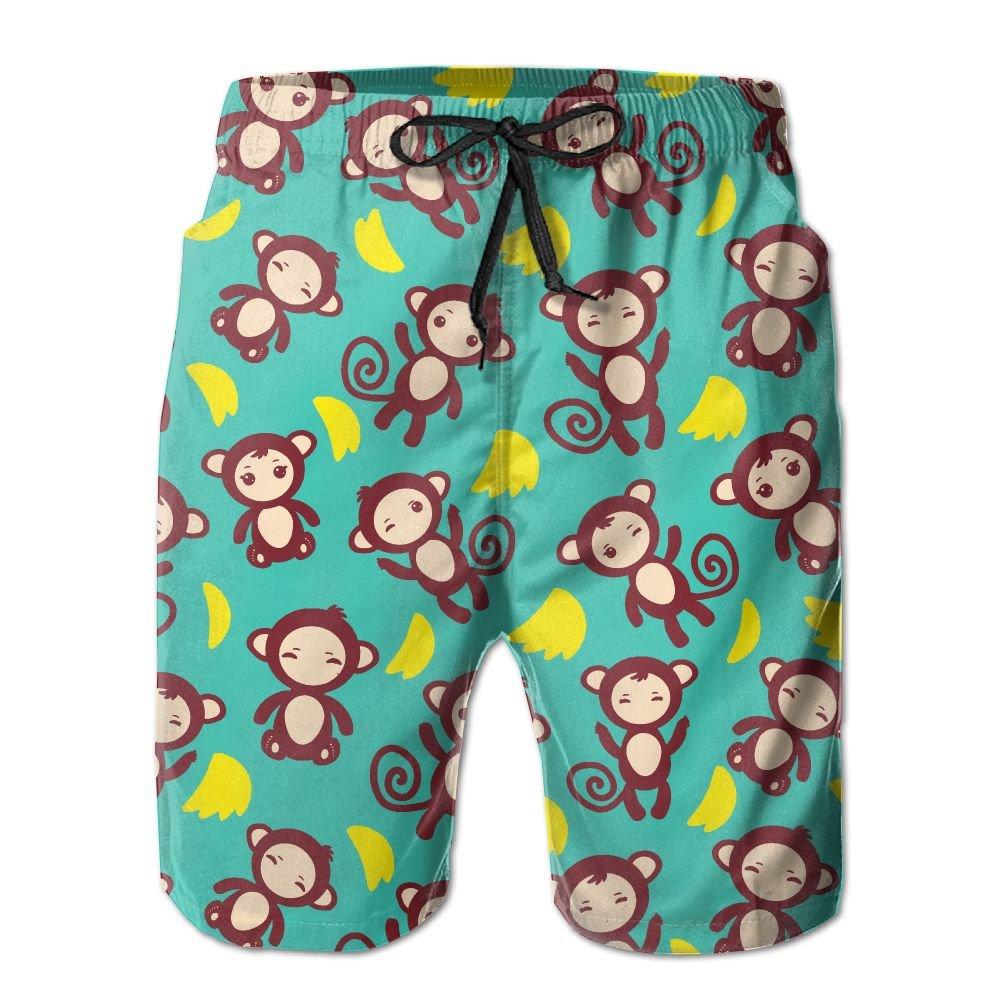 Jadetian Funny Brown Monkey With Bananas Boys Quick Dry Swim Trunk Cute Beach Shorts