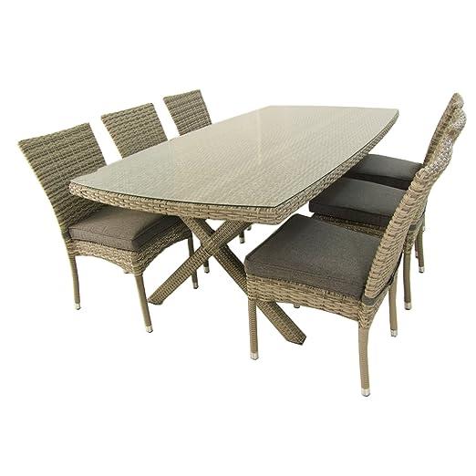Edenjardi Conjunto Mesa 200x100 cm y 6 sillas apilables, Aluminio y rattán sintético Plano Color Gris, 6 plazas, Cristal Templado 5 mm